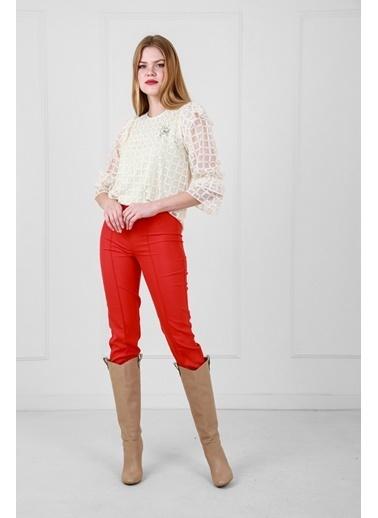 JEANNE D'ARC Ekose Desenli Dantel Bluz Ve Pantolon Set Kırmızı